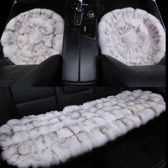 pinganzhe 汽车冬季狐狸毛澳洲进口 三件套圆形坐垫 汽车冬季毛绒坐垫 狐狸毛绒坐垫咖棕色图片