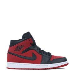 Nike Air Jordan 1 Mid AJ1 男女情侣黑红小禁穿中帮篮球鞋 554724-610 554725-610图片