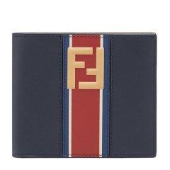 FENDI/芬迪 20春夏  男士深蓝色配红色小牛皮双F标小牛皮短款钱包图片