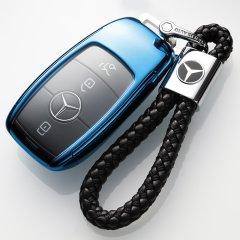 pinganzhe 2018年新款透明软胶全包奔驰钥匙包E级新 E200L E300L E320L套壳扣级S320L  奔驰 送两个牛皮钥匙链图片