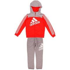 阿迪达斯adidas童装18秋新款儿童运动服男女小童长袖套装连帽休闲两件套 服装 DW9115 DW9116图片