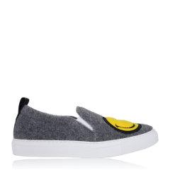 JOSHUA SANDERS/JOSHUA SANDERS 笑脸鞋懒人一脚蹬平跟鞋 10048FSW 灰色 38图片