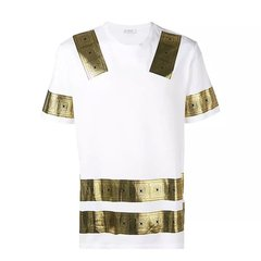 VERSACE COLLECTION 范思哲黑色棉质金色印花短袖T恤 V800683R VJ00597 V7008图片