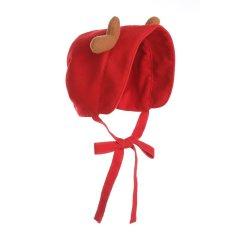 Hanakimi t婴儿胎帽儿童帽羊毛满月宝宝保暖挡风帽鹿角卖萌帽子KM085藏青色 L图片