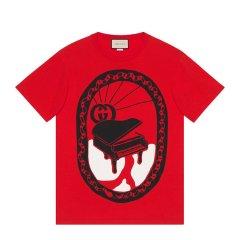 GUCCI/古驰   男女同款 钢琴印花棉质白色短袖T恤#548334 XJAYY 9133图片