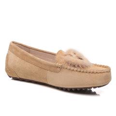 EVER UGG/EVER UGG  平跟鞋 春夏新款 金属环貂毛单豆豆鞋图片