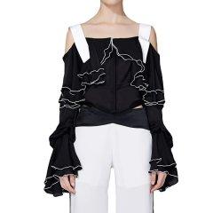 【DesignerWomenwear】TALY&TIAN/TALY&TIAN田嘉慧女士长袖T恤短款黑白拼接吊带上衣图片