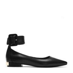 BENATIVE/本那2018春夏新品 简约时尚一字扣花纹牛皮低跟单鞋 尖头女士平跟鞋BN01732045001图片