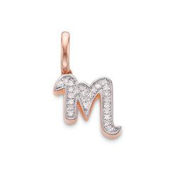 Monica Vinader/莫尼卡维纳德  Alphabet 纯银镀18K玫瑰金钻石吊坠  RP-PT-ALAJ-DIA图片