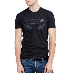 Dsquared2/D二次方  男士时尚黑色图案全棉短袖圆领男士短袖T恤 S74GD0232图片