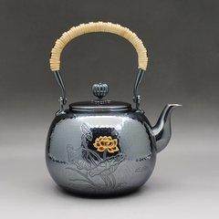 Zhuyintang/竹银堂 纯银 望月形 纯银 荷花 亚光 燻银 容量1L 重量 610克 左右图片