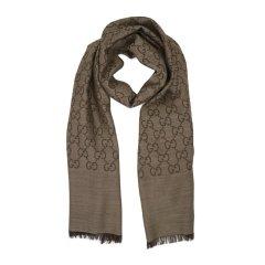 GUCCI/古驰 双G提花纯色羊毛真丝混纺围巾165904 卡其色 均码图片