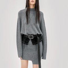 MO&Co./摩安珂女士连衣裙MOCO2018秋季新品简约圆领纯色羊毛连衣裙MA183DRS304图片