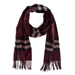 BURBERRY/博柏利 女士红色格纹山羊绒围巾 男女通用中性酒红色秋冬围巾 38267541图片