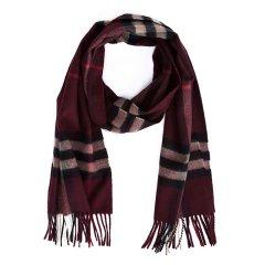 BURBERRY/博柏利 男女通用款酒红色格纹山羊绒围巾 38267541图片