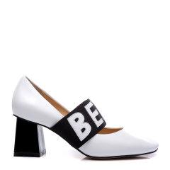 BENATIVE/本那2018春夏新品方头玛丽珍粗高跟鞋 简约通勤字母松紧带女士跟鞋图片