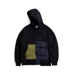 TMCAZ/TMCAZ时尚拼接结构性 加绒加厚 休闲落肩袖连帽宽松男卫衣图片