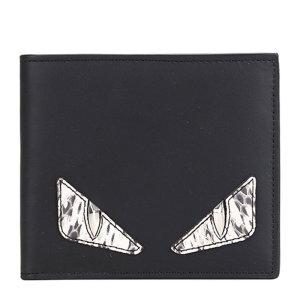 fendi/芬迪 男士短款蛇皮镶嵌金属眼睛小牛皮对折钱夹 7m0169 黑色