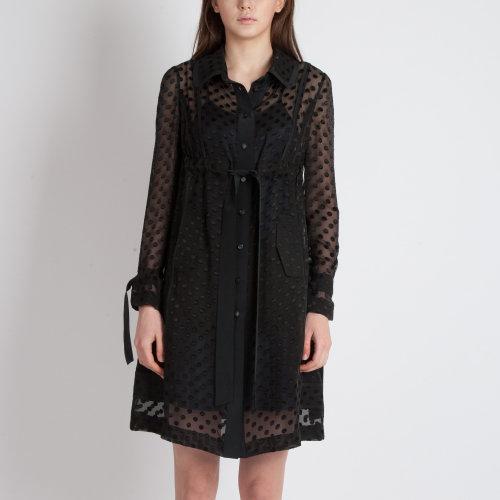 黑色圆点透明雪纺连衣裙