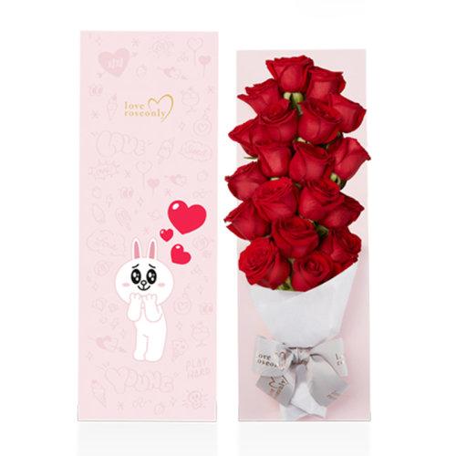 roseonly. 鲜花玫瑰 linefriends粉色长盒浪漫红 19支图片