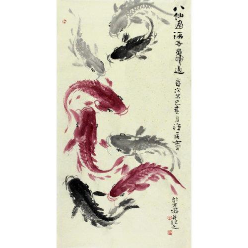 周自豪 《八仙过海 各显神通》 传统水墨 写意花鸟