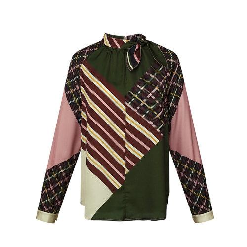 HAZZYS/哈吉斯2019冬季新款女士长袖衬衫女休闲风衬衫ASCSK19CK33