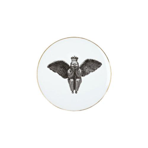 稀奇艺术 家居系列王冠天使金边骨瓷餐盘