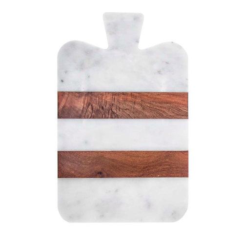 【FiammettaV Home Collection】白色大理石与木头厚切菜板 意大利进口高端家居