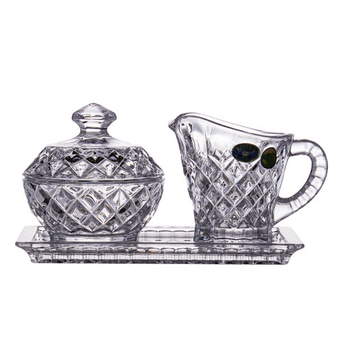 捷克进口BOHEMIA水晶玻璃三件套甜点糖缸 牛奶杯 干果盒 咖啡杯