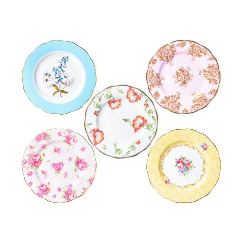Royal Albert/皇家阿尔伯特 百年系列骨瓷餐盘盘子点心盘五件套进口 40017562