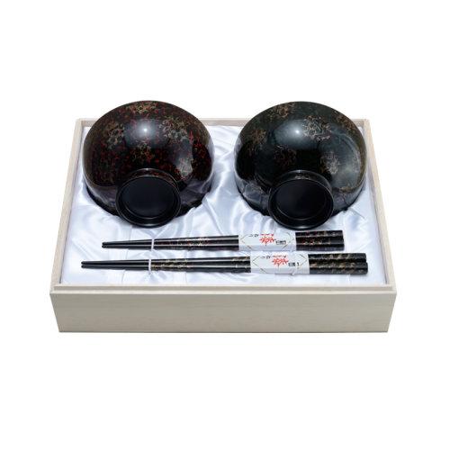 夫妻筷子/碗 桐木箱礼品套装 日本 津轻涂小林漆器