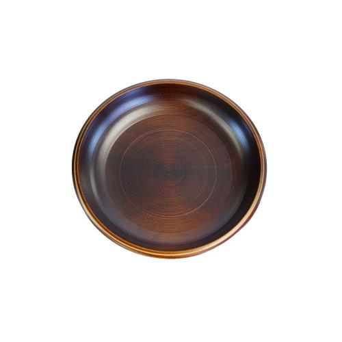 6寸木制深果盘(原木纹金线)日本制 山中漆器 祖父江