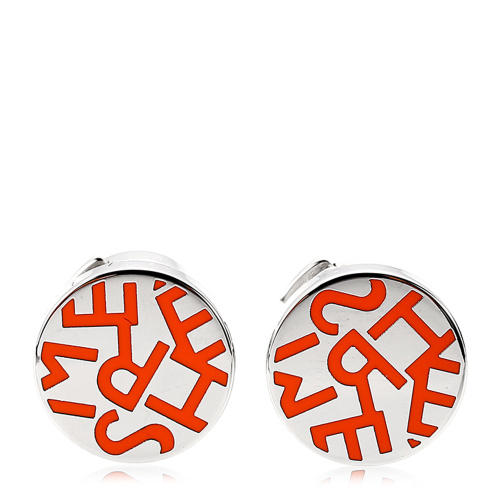 hermes(爱马仕) 橘色字体logo耳饰