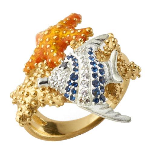 misis/美赛丝意大利艺术珠宝 手绘珐琅个性镀18k金小号戒指man0303077