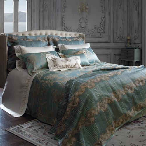 罗卡芙家纺欧式奢华床品意大利进口埃及棉提花四件套爱丽舍花园