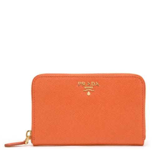 PRADA 普拉达 时尚简约金属LOGO女士长款钱包 手拿包