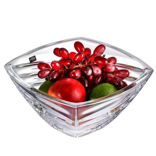 BOHEMIA 创意水果盘欧式玻璃高脚果斗简约客厅装饰摆件捷克进口