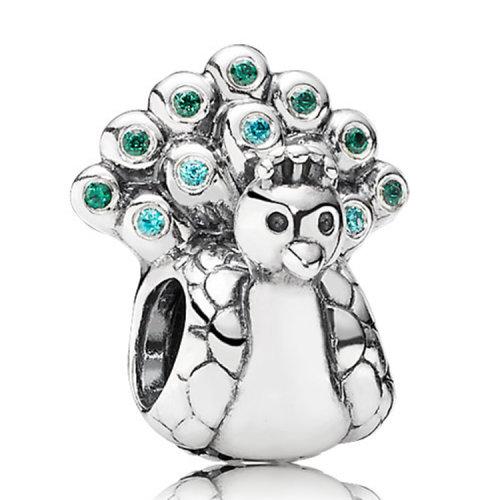 pandora潘多拉 可爱动物-孔雀开屏 锆石镶嵌925银串饰
