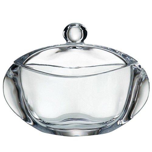 捷克BOHEMIA/波尔卡 波希米亚 水晶玻璃糖缸 带盖小果缸防尘18厘米