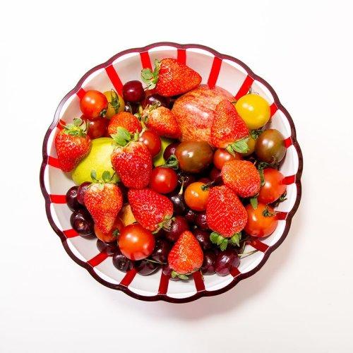 利快Guzzini意大利进口水果盘树脂花瓣碗沙拉碗小吃碗 双色一体成型 餐桌美器 (8-10英寸)