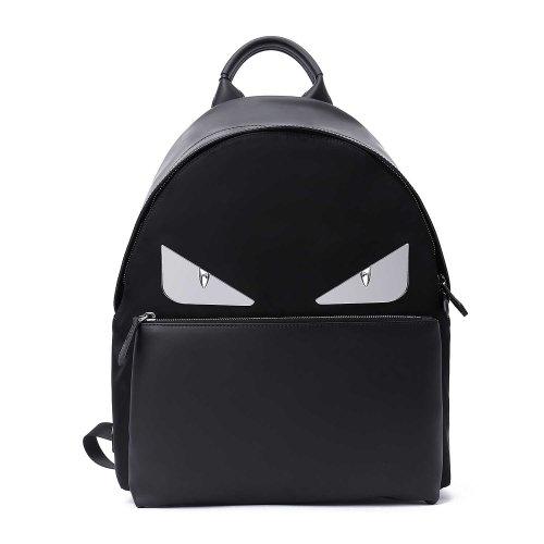 fendi/芬迪黑色混合材质小怪兽眼睛装饰男士双肩包pvc