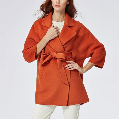 女士砖红色舒适修身优雅羊毛大衣