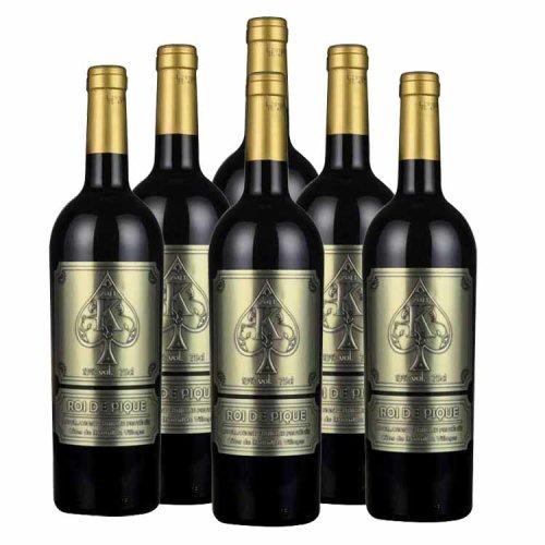 【口感柔和,回味悠长】法国黑桃k干红葡萄酒 6*750ml