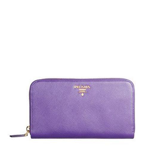prada(普拉达) 紫色皮质拉链长款钱夹