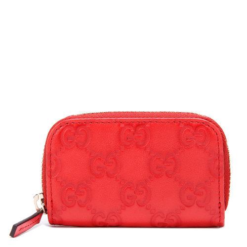 gucci(古驰) 红色皮质拉链零钱包