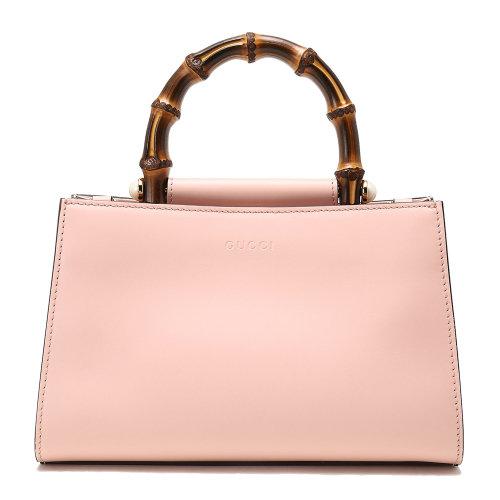gucci(古驰) 浅粉色拼白色皮质竹节珍珠装饰两用包