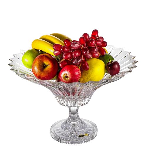 BOHEMIA捷克进口水果盘水晶玻璃创意高脚干果盘客厅装饰摆件礼盒
