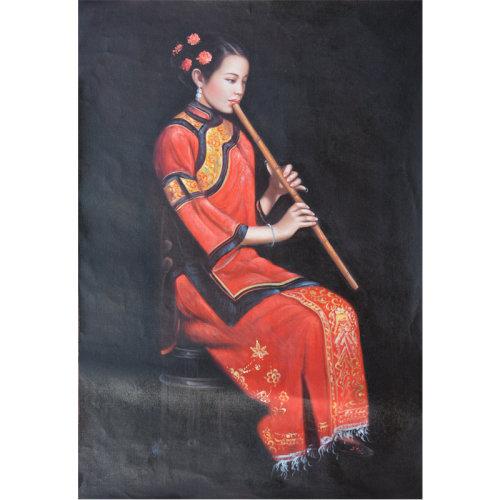 郑灵海《吹笛子少女》 布面油画 人物