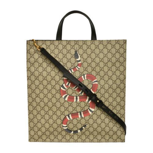 gucci/古驰男士珊瑚蛇pvc双g印花手提包 450950