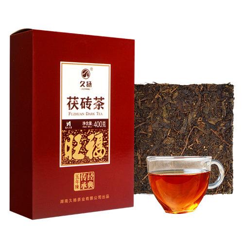 久扬 湖南安化黑茶 2018年旺福五年陈经典机压茯砖茶400克